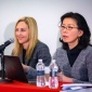 At right, Nancy Chau, professor of applied economics and management, discusses the balance of power in the labor market. At center, Beta Mannix, the Ann Whitney Olin Professor of Management